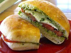 pesto, tomato, mozzarella sandwich