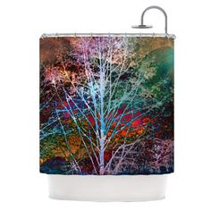 Features:  -Material: Tightly woven polyester.  -Designer: Sylvia Cook.  -Water resistant.  -Trees in the Night Collection.  -Made in the USA.  Product Type: -Shower curtain.  Color: -Multi-colored.
