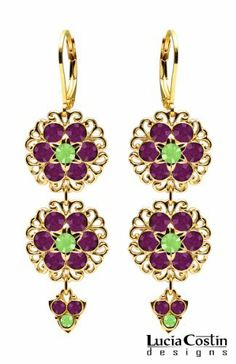 European Style Chandelier Earrings by Lucia Costin with Lace Trim Details, Violet and Peridot Green Swarovski Crystals, Accented with 6 Petal Middle Flower and Fancy Charms; 14K Yellow Gold Plated over.925 Sterling Silver Lucia Costin. $78.00. Update your everyday style with inspiration when wearing this piece of jewelry. Chandelier earrings beautifully designed by Lucia Costin. Enhanced with dark purple and peridot green Swarovski crystals. Floral design with fil...