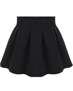 Black High Waist Pleated Flare Skirt 16.83