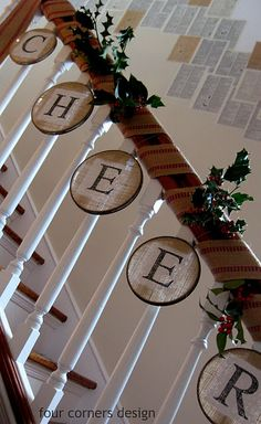 """Painted burlap stretched in a metal embroidery hoop. So adorable for a staircase! Maybe """"JOY""""?"""