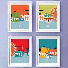 Mid Century Cathrineholm Kitchen Art Poster prints, 8 x 10 Kitchen Artwork, Kitchen Prints, Kitchen Decor, Mid Century Art, Mid Century Design, Wall Prints, Poster Prints, Art Posters, Art Print