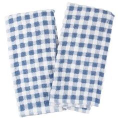 Amazon.com - Farberware Blue and White Checkered Popcorn Terry Kitchen Towel, Set of 4