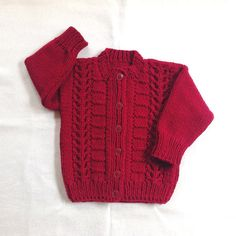 Christmas red girls cardigan  1 to 2 years  Girls by LurayKnitwear