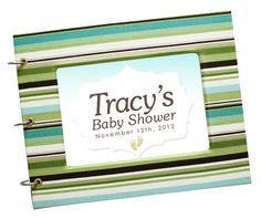 Baby Shower Guest Book Blue Turquoise and Green Stripes