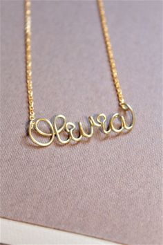 Gold Name Necklace Custom Name Necklace Personalized by DiAndDe