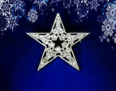50% SALE Star Jewelry..Star Pin..Star Brooch..Christmas Pin..Christmas Brooch..Rhinestone Star Brooch..Silver Star..Christmas Party Favor