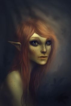 elven portraits | ... 2d, character, female, redhead, girl, woman, portrait, elf, fantasy