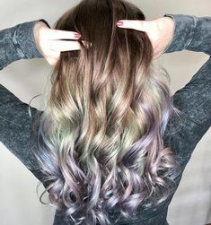 See what 40 springtime hair color ideas are making us want to call our hairdressers right now! This brown-green-purple-blue ombré hair color is fantastic! It's giving us major mermaid vibes. Hair Color Dark, Ombre Hair Color, Blonde Color, Cool Hair Color, Hair Colors, Brown Ombre Hair, Short Brown Hair, Light Brown Hair, Brown Hair With Blonde Highlights
