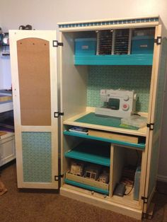This is my new Sewing Cabinet repurposed from a computer armoire. Found on www.sanding4sanity.blogspot.com