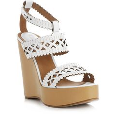 Chloe Laser-cut leather wedge shoes ❤ liked on Polyvore