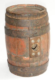 "Antique Revolutionary War 18th century paint primitive 5"" wood black powder keg"