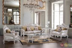 Luxury White Bonded Leather Carved Traditional Sofa Set HD-13009