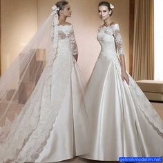 China Lace Wedding Dresses Korea Satin Bridal Ball Gowns A-Line Sleeves Custom Wedding Gown Photos & Pictures Lace Back Wedding Dress, Retro Wedding Dresses, Luxury Wedding Dress, Long Sleeve Wedding, Wedding Bridesmaid Dresses, Bridal Lace, Bridal Dresses, Wedding Gowns, Ivory Wedding
