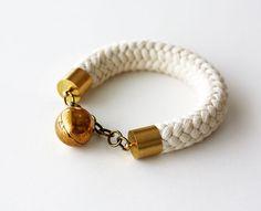 Rope Bracelet - Chunky Bracelet - Charm Bracelet - White Bracelet - Summer Fashion