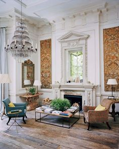 """Rose Uniacke's London home from Vogue (March 2017), via Habitually Chic. Uniacke describes it as, """"monastery meets Venetian palazzo."""""""