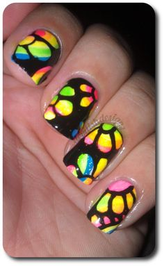 Black and rainbow flower manicure Cute Nail Art Designs, Flower Nail Designs, Colorful Nail Designs, Get Nails, How To Do Nails, Hair And Nails, Hippie Nails, Nail Polish Colors, Nail Polishes