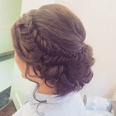 See this Instagram photo by @hairandmakeupbyemilyh Fishtail Braided Updo Bridal hair Wedding hair