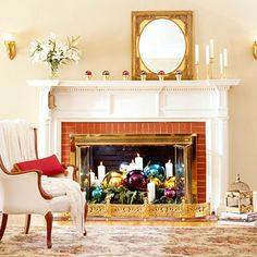 flowerpots with ornaments @ http://www.bhg.com/christmas/indoor-decorating/mantel-decorating-ideas/#page=29