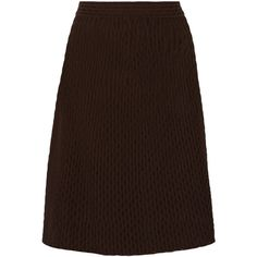 M Missoni Textured cotton-blend skirt ($268) ❤ liked on Polyvore featuring skirts, dark brown, m missoni skirt, m missoni, brown skirt, knee length skirts and knee high skirts