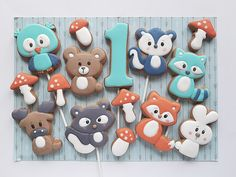 16 October, April 4th, 8th Of March, Woodland Animals, Decorated Cookies, Cookie Decorating, Birthday, Forest Animals, Birthdays
