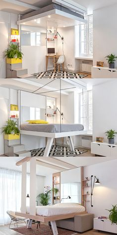 BedUp - saves space by lowering from the ceiling. Perfect for small appartments. Better than other Murphy beds. Small Dining Room Furniture, Loft Studio, Space Saving, Minimalist, Murphy Beds, Interior Designing, Bedroom, Table, Home Decor