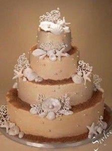 beach theme wedding cakes photos