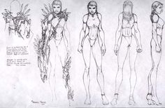 Michael Turner. A style sheet showing some truly bizarre anatomy from a published comic book artist. Stylized? Frightening.