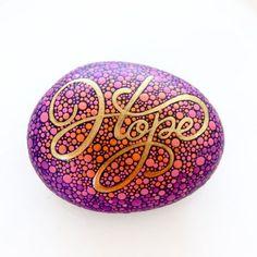 Inspirational Word Hope Stone / Painted Rock - dot art