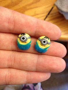 Despicable Me Minion Earring Studs on Etsy, $8.00. Mom you should get me these for 8.00...... Gina Hansen-Lingner