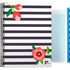 "Cuadernos Tapa Dura A4-A5-A6-A7 Archivador de la nueva colección Noa 2017 en su serie ""Rayas"".  #papeleria #materialescolar #materialdeoficina #Grafoplás #diseño #rayas #chica #flores"