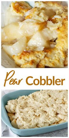 This easy Pear Cobbler is the bomb, with juicy, sweet pear chunks smothered in an amazing tender sweet biscuit dough! You'll love this fantastic fall dessert! Pear Recipes Easy, Pear Dessert Recipes, Fall Desserts, Just Desserts, Fruit Dessert, Fruit Recipes, Pear Cobbler, Pear Pie, Pear Tart