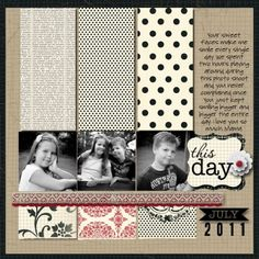 Scrapbook Layout Idea using paper strips
