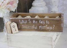 Rustic Guest Book Box Alternative Key To A Successful Marriage. $125.00, via Etsy.
