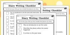 Diary Writing Checklist Differentiated - diary, checklist, write