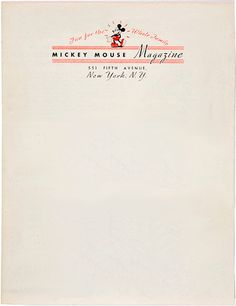 Mickey Mouse Magazine Letterhead From Ammamazy Printable Stationary
