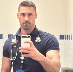 I hate selfies.The only reason he's getting away with it is the uniform. Hot Doctor, Hot Hunks, Hunks Men, Men In Uniform, Hairy Men, Scruffy Men, Bearded Men, Good Looking Men, Male Beauty