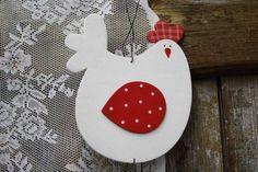 Meine Welt WILLKOMMEN Girlande Ostern Huhn Hühner Holz Deko Rot/Weiß 100 cm Neu
