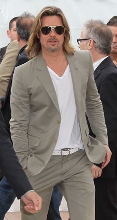 Best Dressed Men Cannes 2012 - Brad Pitt wearing white t-shirt under light suit with white belt and shoes?
