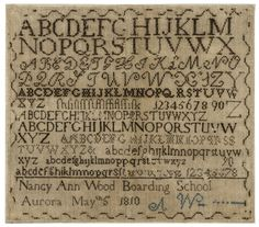 Nancy Ann Wood - Boarding School, Aurora (New York)- 1810. Quaker sampler. Worked in silk on linen. Sold for 2,000 USD