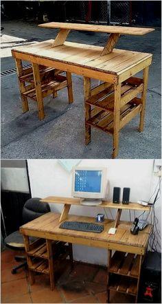 Pallet Desk, Wooden Pallet Projects, Wooden Pallet Furniture, Pallet Crafts, Wooden Pallets, Furniture Plans, Pallet Wood, Wood Desk, Cheap Furniture