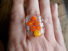 My little garden. Adjustable ring. Fused glass. Handmade by Unics, $29.00