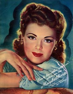 A captivatingly beautiful illustrated Maybelline cosmetics ad from the 1940s.