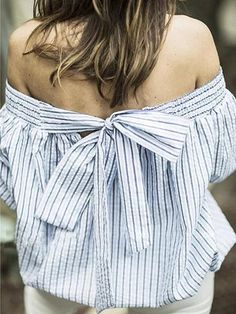 Blue Stripe Off Shoulder Bowknot Long Sleeve Blouse - stayingsummer
