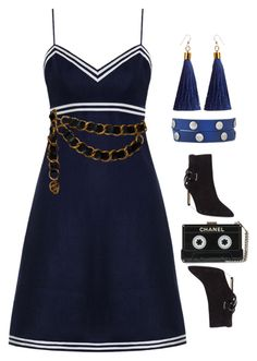 """""""Trust in the blue"""" by vintage-wine ❤ liked on Polyvore featuring Zimmermann, Tory Burch, GUESS and Chanel"""