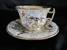 Antique 1800s French Old Paris Sevres Dogs Birds Hunting Porcelain Cup w Saucer | eBay
