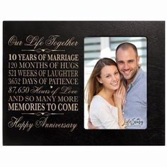 Personalized ten year anniversary gift for her him couple Custom Engraved wedding gift for husband wife girlfriend boyfriend photo frame holds photo by DaySpring International (black) Ten Year Anniversary Gift, Wedding Anniversary Pictures, Wedding Anniversary Photos, Anniversary Ideas, Wedding Vows, Engraved Picture Frames, Wooden Picture Frames, Engraved Wedding Gifts, Friends Picture Frame