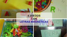 4 ideas jugar con letras magnéticas con niños: Pesca de letras, aprender vocales y consonantes, bingo con letras, formar palabras...