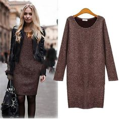Coffee Black Color Women Dress Autumn O Neck Long Sleeve Loose Knitted Dress Casual