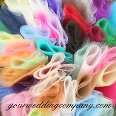 Shop our collection of wedding tulle circles and bolts. Wrap wedding favors  and decorate your reception with budget-friendly tulle fabric. Our tulle is premium quality and soft to the touch. This tulle is 54 inches wide and available in 48 beautiful colors. Made in the USA. Non-flammable.  www.yourweddingcompany.com